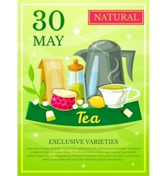 Poster opening tea shop vector image