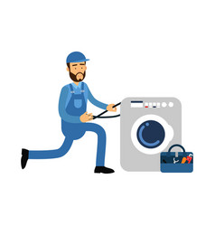 proffesional plumber character installing washing vector image