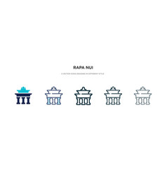 Rapa nui icon in different style two colored and vector
