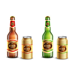 realistic beer packagings set vector image