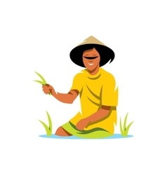 Rice Field Man Cartoon vector image