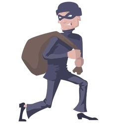 Robber in a mask carries bag Man robber vector