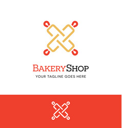 Rolling pin logo or icon for bakery shop culinary vector
