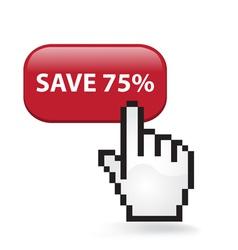Save 75 Button vector