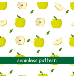 seamless pattern of apple green and leaf on a vector image