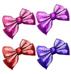 set multicolored bow ties isolated on white vector image