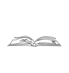 single continuous line drawing thick open book vector image