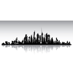 Skyline ruined city vector image