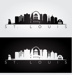 st louis usa skyline and landmarks silhouette vector image