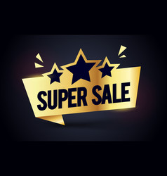 super sale premium label golden stars web banner vector image