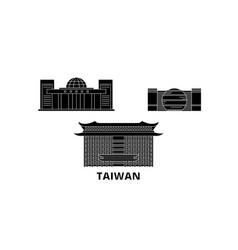 Taiwan new taipei city flat travel skyline set vector