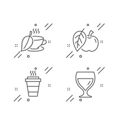 Takeaway apple and mint tea icons set wine glass vector