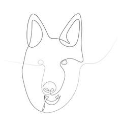 the head of the german shepherd in one line vector image