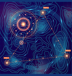 topographic contour map with markers futuristic vector image