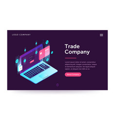 Trade company web banner with laptop vector