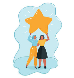 two woman is standing holding cartoon big star vector image