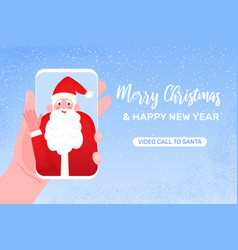video call to santa claus merry christmas vector image