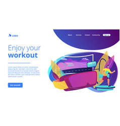 Vr fitness gym concept landing page vector