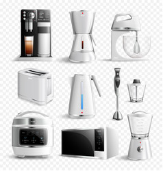 White household kitchen appliances transparent vector