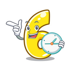 With clock cartoon number six on the road vector