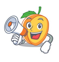 With megaphone apricot character cartoon style vector