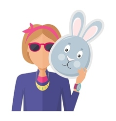 Woman with Rabbit Mask Flat Design vector image