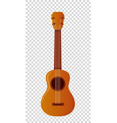 Wooden ukulele with four strings vector