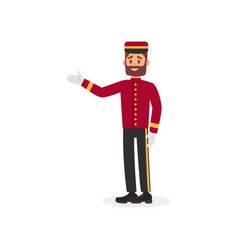 Young bearded guy in bellboy uniform employee of vector