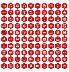 100 website icons hexagon red vector image vector image