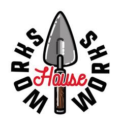 color vintage house works emblem vector image