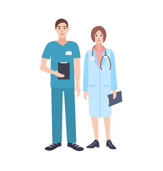 pair of male and female doctors wearing scrubs and vector image