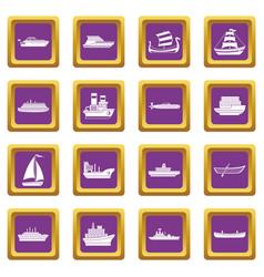 Sea transport icons set purple vector