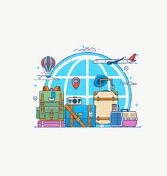 travel globe with pin camera vector image