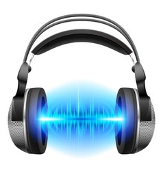 Headphones with music playing vector image