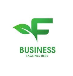 letter f with leaf logo vector image vector image