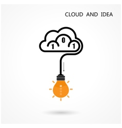 Light Bulb Idea Icon and Cloud Logo Design vector image