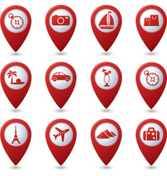 Map pointers with travel icons vector image vector image