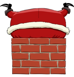 santa in the chimney vector image vector image