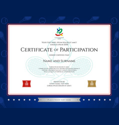 sport theme certification of participation vector image