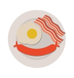 breakfast with egg sausage and bacon icon vector image