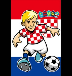 croatia soccer player with flag background vector image vector image