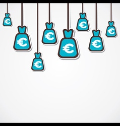Euro currency bag background vector