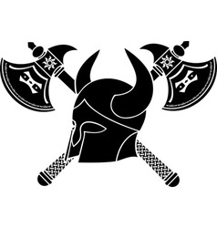 fantasy helmet with axes stencil firts variant vector image vector image