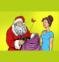 Joyful santa claus without gifts and beautiful vector