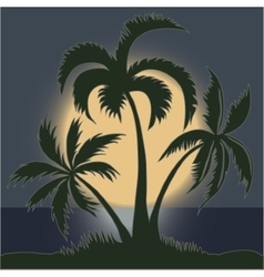 Palms in the Moonlight on the Beach - vector image vector image