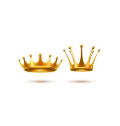 realistic 3d golden crown set vector image
