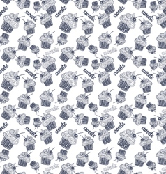 Seamless pattern with blue cupcake vector image