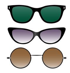 set of sunglasses in retro style vector image
