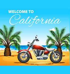 welcome to california poster design with vector image