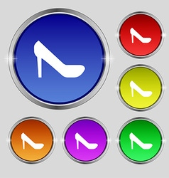 woman shoes icon sign Round symbol on bright vector image
